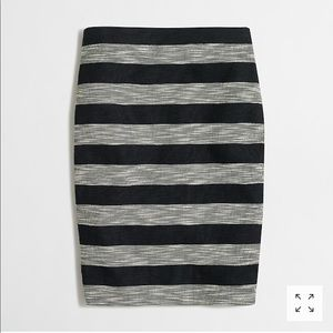 J. Crew Striped Jacquard Pencil Skirt Black Gray